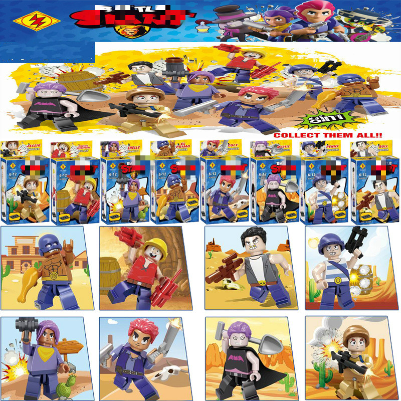8pcs / सेट एक्शन फिगर ब्लॉक खिलौने अमाइन गेम पोको शेल्टी नीता कोल्ट जेसी ब्रॉक कलेक्टिव बिल्डिंग ब्लॉक्स बच्चों के लिए उपहार