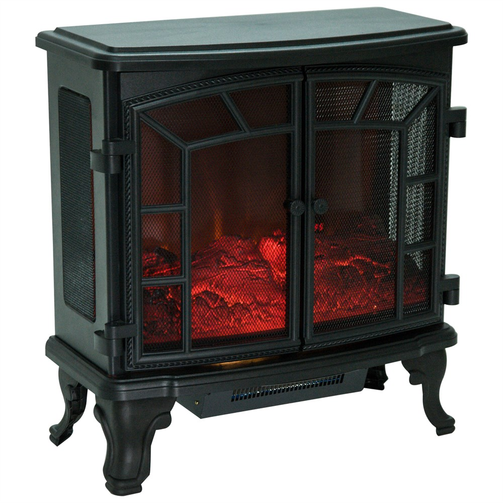 HOMCOM Electric Fireplace With Flame Effect Floor 1000 W/20000 W Remote Control 63.5 × 30.5 × 67.5cm