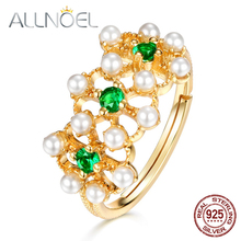 ALLNOEL 925 Sterling Silver Ring Natural Emerald Real Pearl Female Ring Real Gold  Plated Luxury Design  Fashion Jewelry New