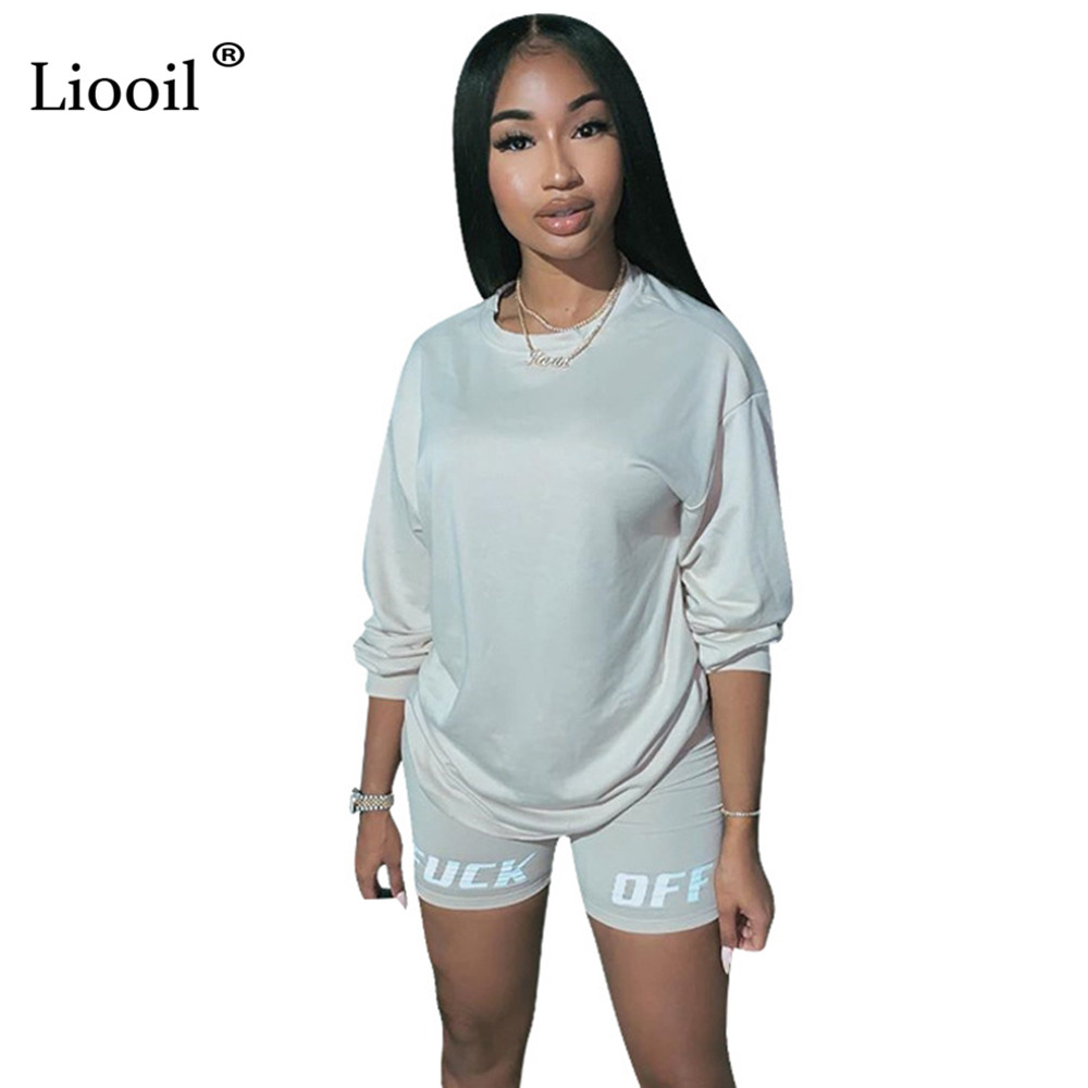Liooil Letter Print Two Piece Outfits Set Women Tracksuit 2019 Long Sleeve T Shirt Sexy Tops And Biker Shorts Jogger Suit Sets