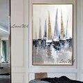 100% ручная роспись маслом на холсте цвет морской лодки картина маслом абстрактная Современная холщовая Настенная картина Декор для гостино...
