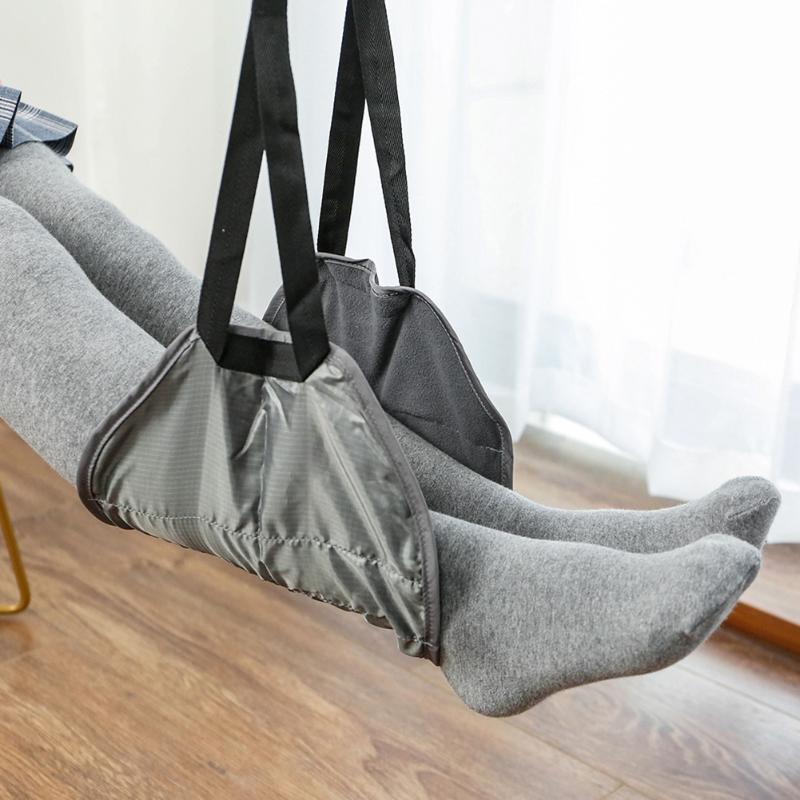 Airplane Adjustable Straps Footrest Hammock Memory Foam Foot Resting Hammock Hanger Office Airplane Travel Accessories image