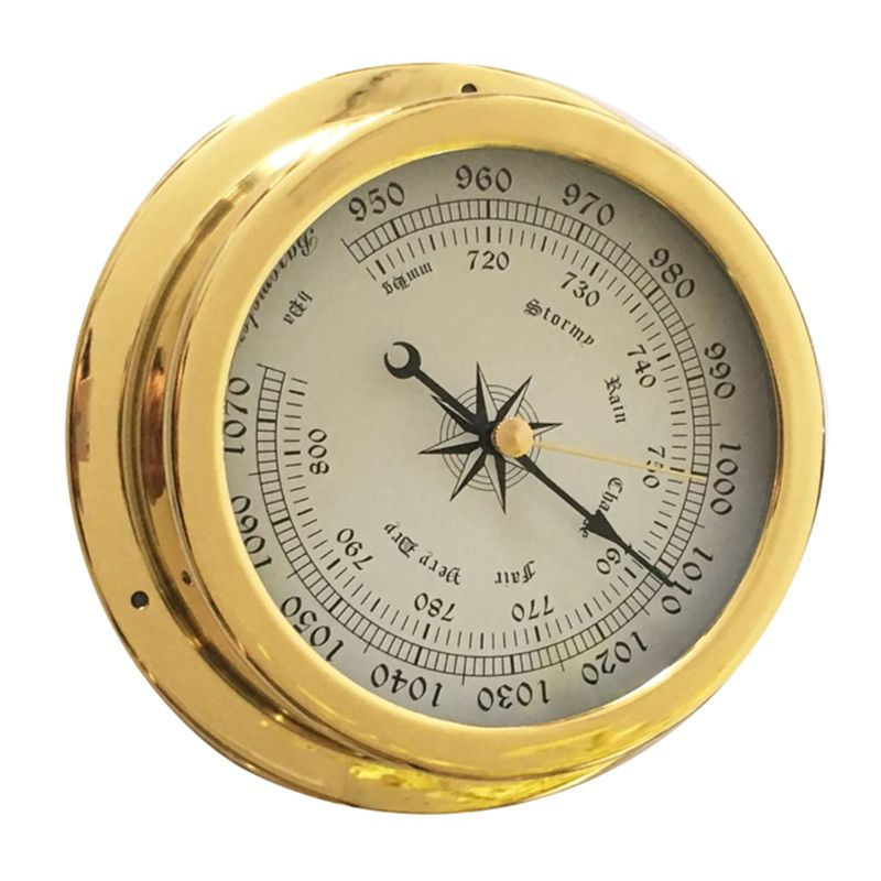 Image 2 - 4 Inches Thermometer Hygrometer Barometer Watches Clock Copper 