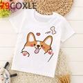 Футболка Kawaii Corgi, детский летний топ, мультяшная забавная собака, графическая футболка для мальчиков/девочек, унисекс, Повседневная футболк...