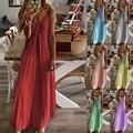 2020 Платье женское Повседневное платье без рукавов на бретелях с v-образным вырезом, майки без рукавов с принтом длинное платье размера плюс ...