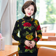 Chinese Style Women Winter High Collar Bottoming Shirts Oriental Floral Printing Thick Fleece Liner Top Female Turtleneck Blouse