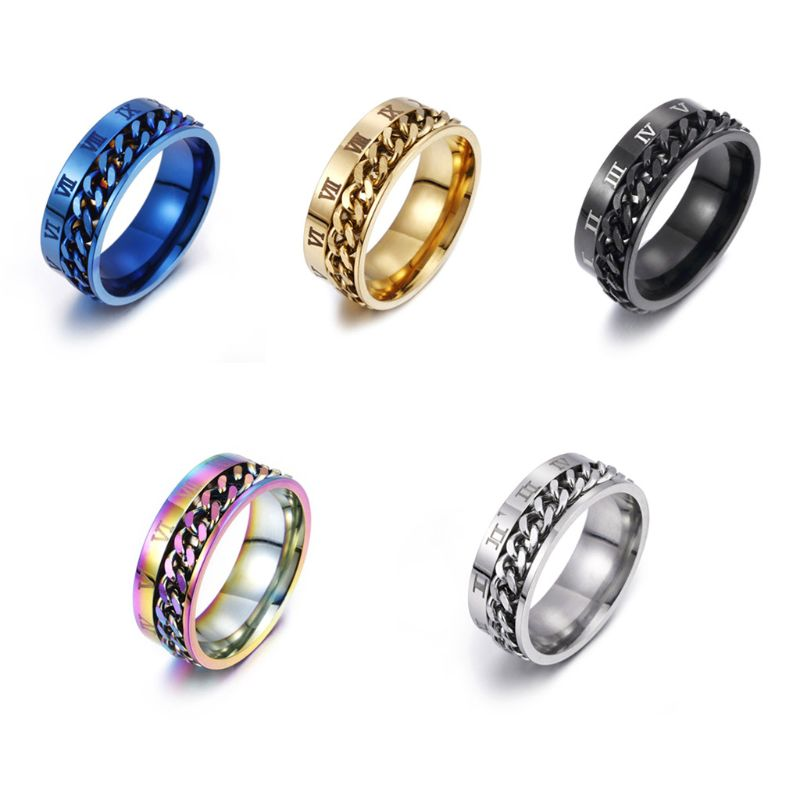 EDC Finger Fidget Spinner Stainless Steel Chain Rotatable Ring Men Classical Rome Digital Power Sense Gift  P31B