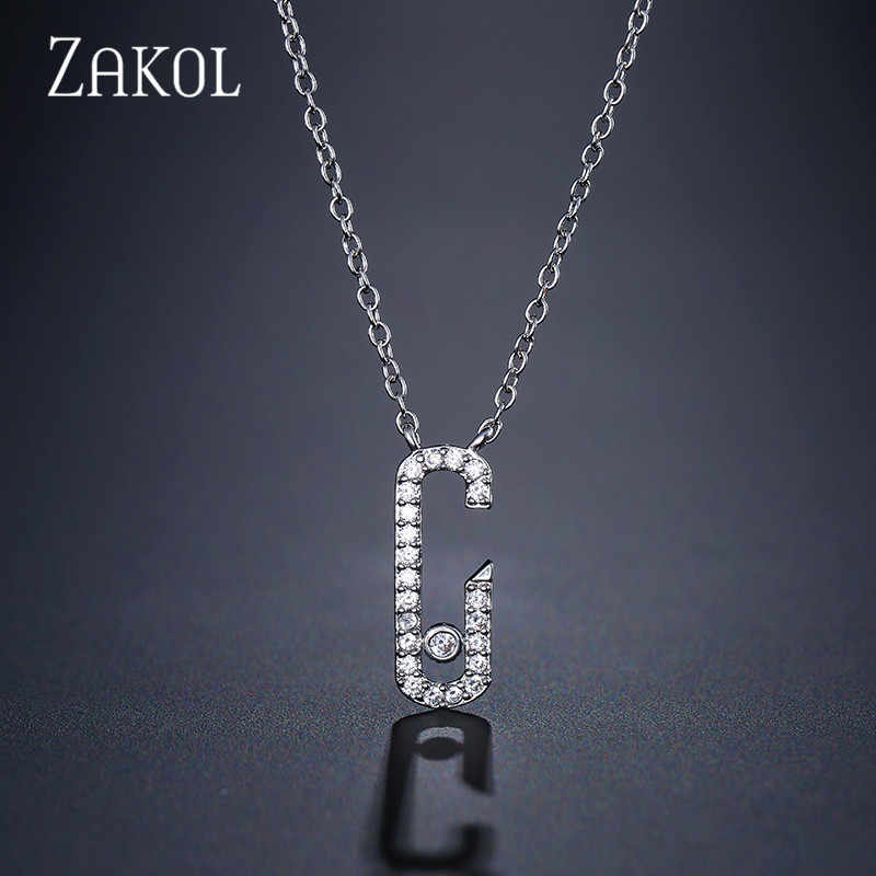 ZAKOL New Arrival Clear White Round Zirconia Stone Pendant & Necklaces For Woman Fashion Party Gift Jewelry FSNP2048