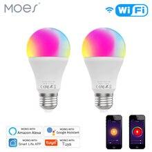 Wifi inteligente led lâmpada regulável 9 w, rgb c + w, vida inteligente tuya app controle remoto trabalhar com alexa eco google casa e27