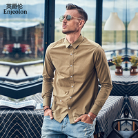 Enjeolon Casual Shirt Men Brand Clothing 2019 New Long sleeve Slim Fit 100% cotton White Solid Male Shirt Plus Size CX2280 1