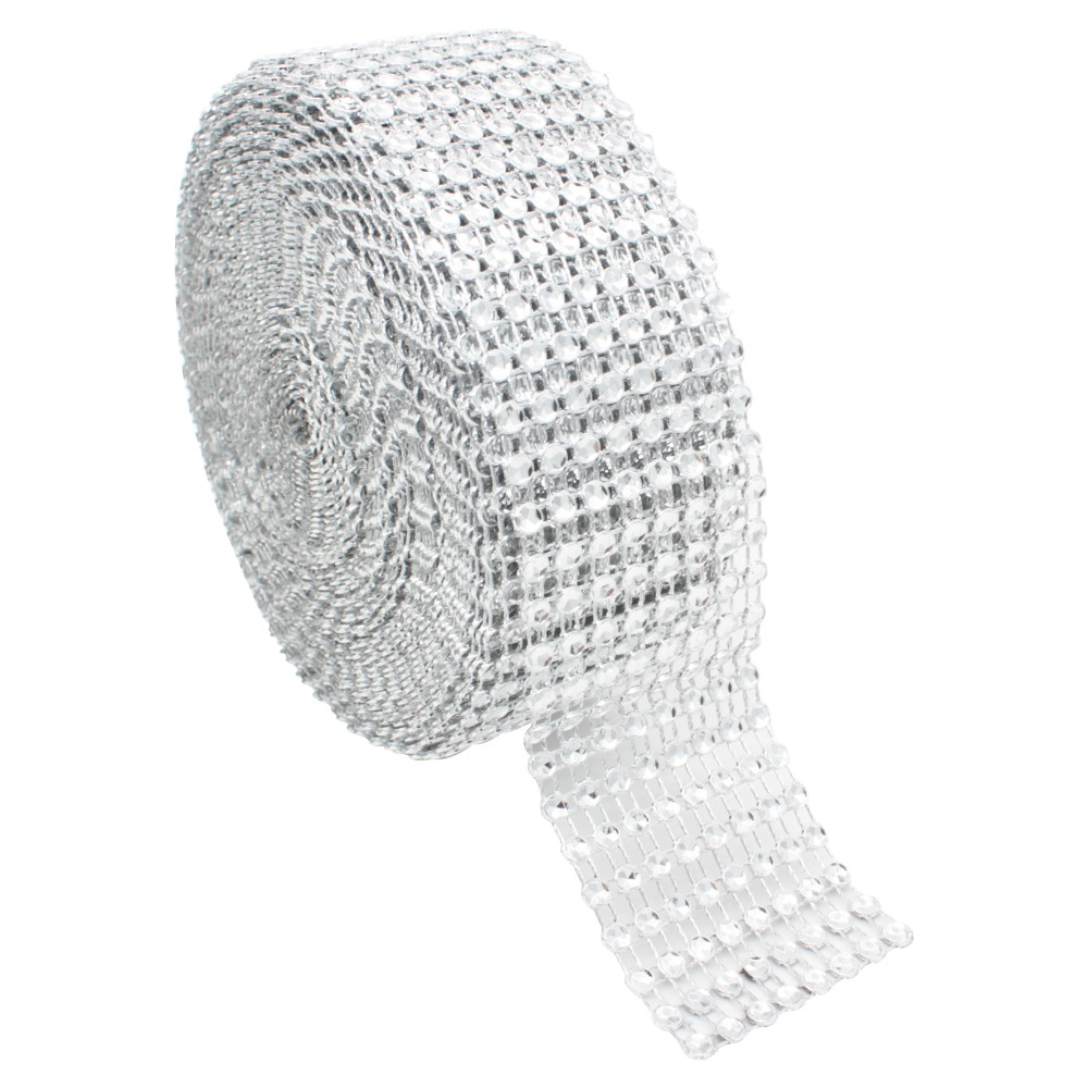 1 Yard/91.5cm DIY Silver Color Diamond Mesh Rhinestone Wraps Ribbon Crystal Roll Trim Sparkle Mesh Wrap For  Wedding Decoration