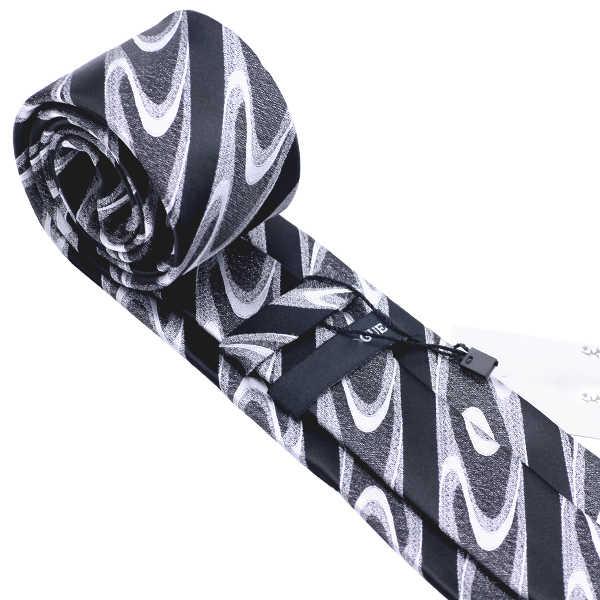 Barry. Wang noir nouveauté soie cravate pour hommes cadeau de mariage 8.5cm de large créateur de mode homme cravate Gravat livraison directe DH-1130