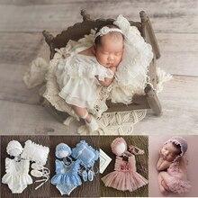 От 0 до 1 месяца новорожденных Подставки для фотографий Детские шапка повязка на голову; Кружевной комбинезон Боди Наряд Платье для маленьки...