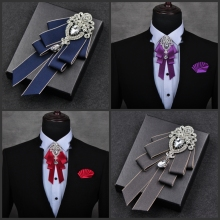 i-Remiel High-end British Style Bowties Multi-layer Neckties Bow Tie for Men Groomsmen Best Wedding Ties Jewelry Accessories