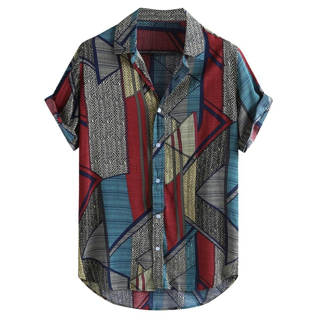 Mens Ethnic Style Summer Short Sleeve Loose Buttons Casual Shirt Blouse Tops Spring Multicolor Retro blouse shirts Tops