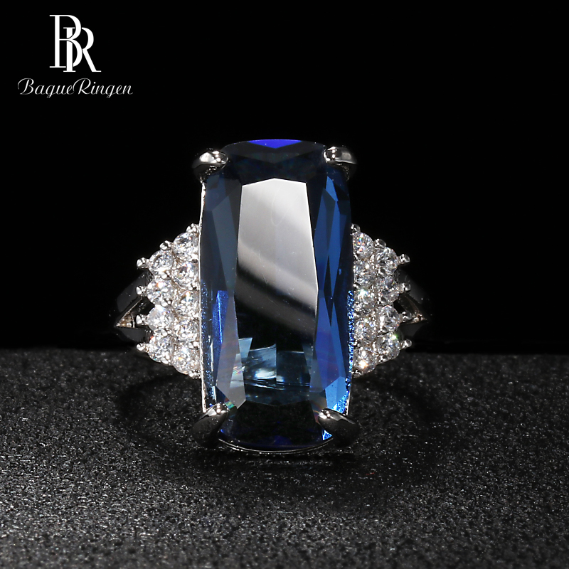 Bague Ringen Fashion Silver 925 Jewelry Rectangle Gemstones Ring For Women Geometry Sapphire Princess Party Banquet Wholesale