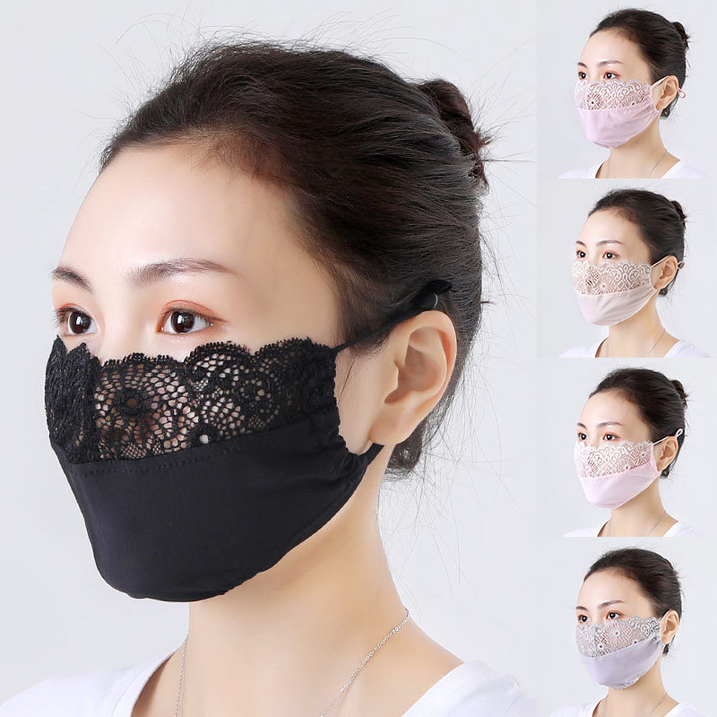 Women Sexy Lace Mask Black Masquerade Ball Party Mouth Mask Anti Haze Dust Washable Reusable Women Men Child Dustproof Mask