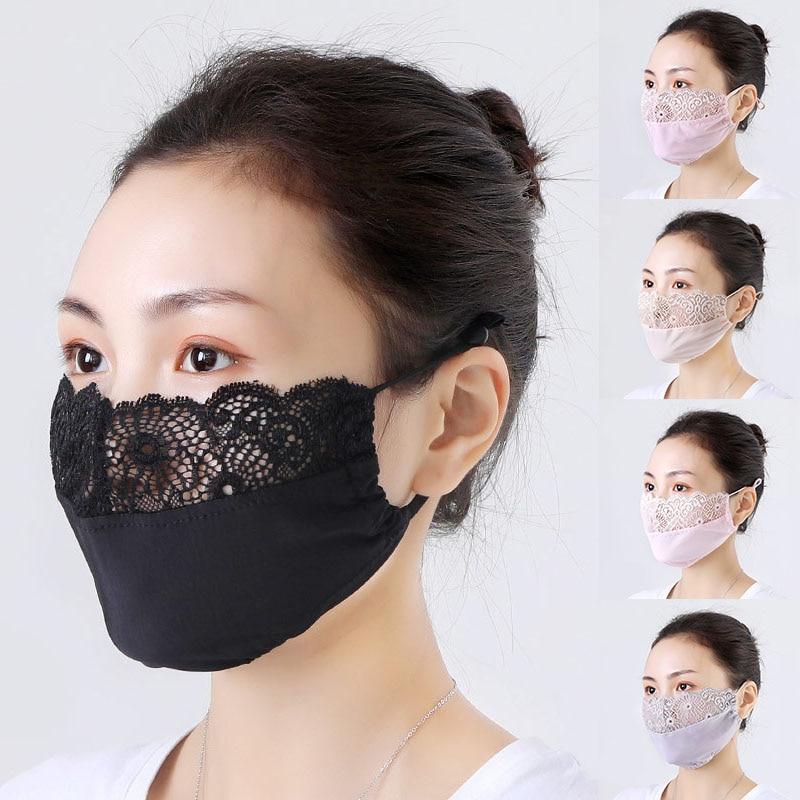 Women Sexy Lace Mask Black Masquerade Ball Party Mouth Mask Anti Haze Dust Washable Reusable Women Men Child Dustproof Mask