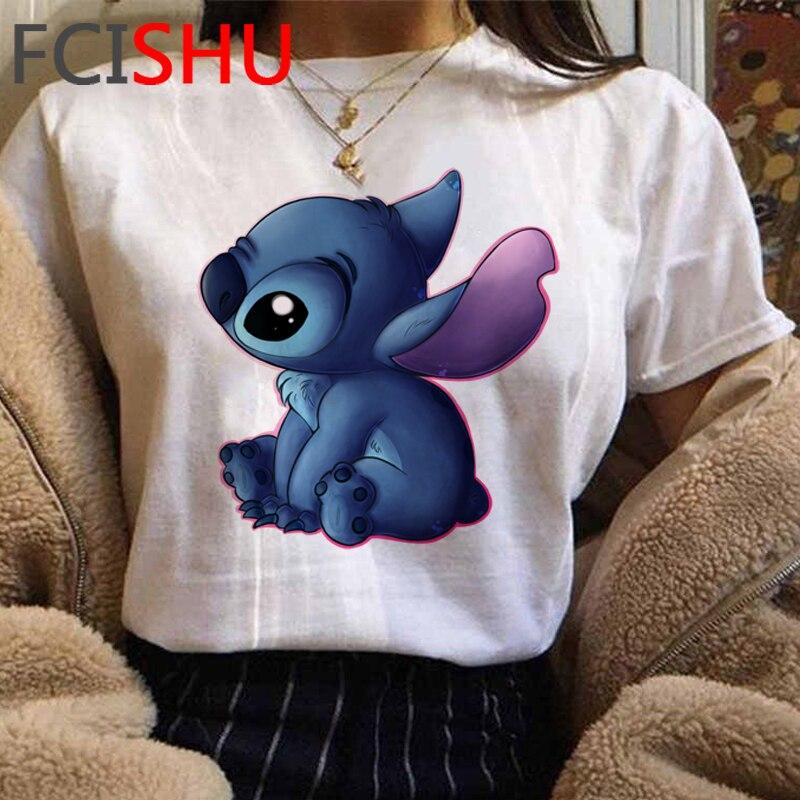 Cute Lilo Stitch Graphic Tshirt Women Kawaii Stitch Ohana Anime T-shirt Funny Cartoon Casual T Shirt Summer New Top Tees Female