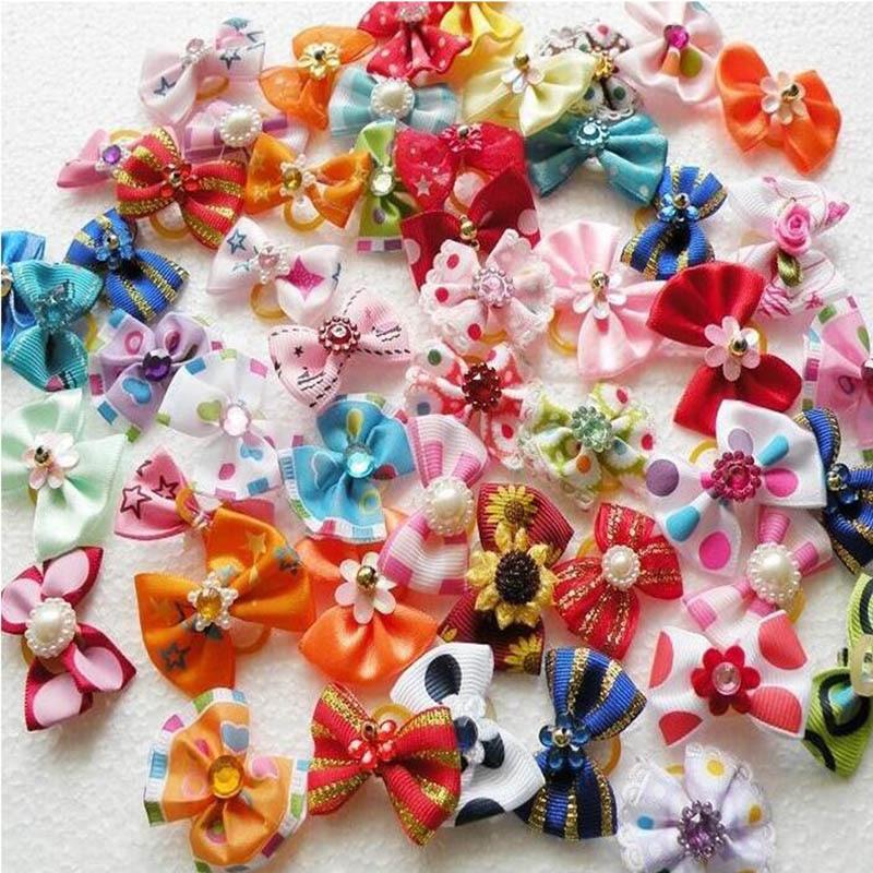 20 50 100pcs Set Dog Hair Flower font b Pet b font Dog Hair Bows font