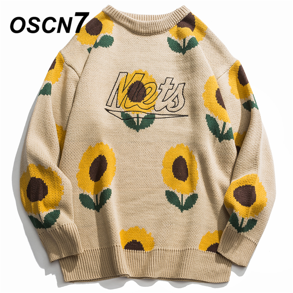 OSCN7 Funny Sunflower Embroidery Sweaters Men 2019 Autumn High Streetwear Womens Pullovers Round Neck Vintage Sweaters 8955
