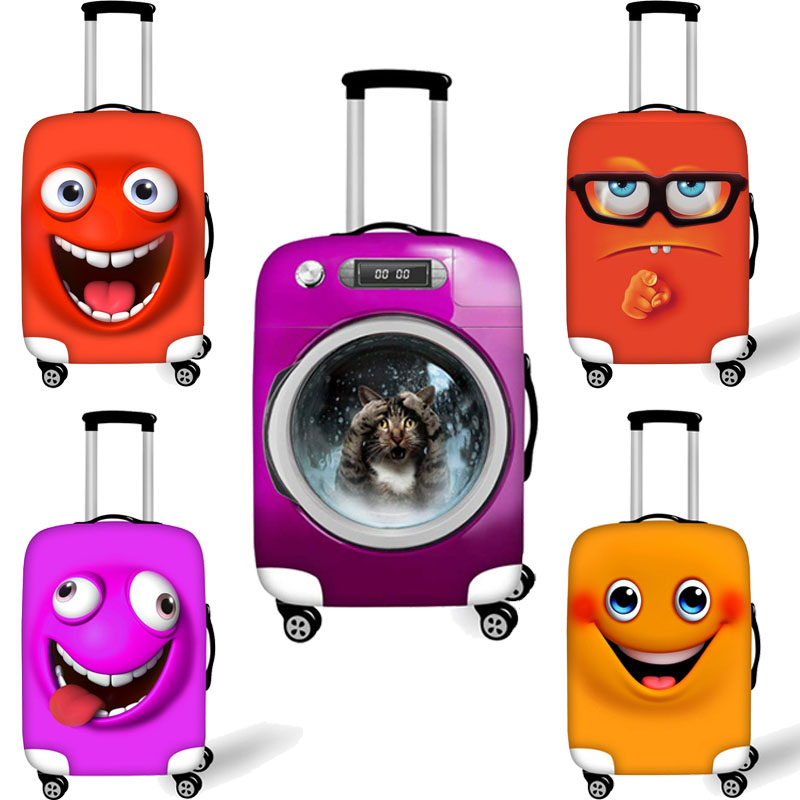 Luggage Cover Suitcase Case Protective Cute Smile Face 3D Print Travel Luggage Covers For Trunk Case Apply To 18''-32'' Suitcase