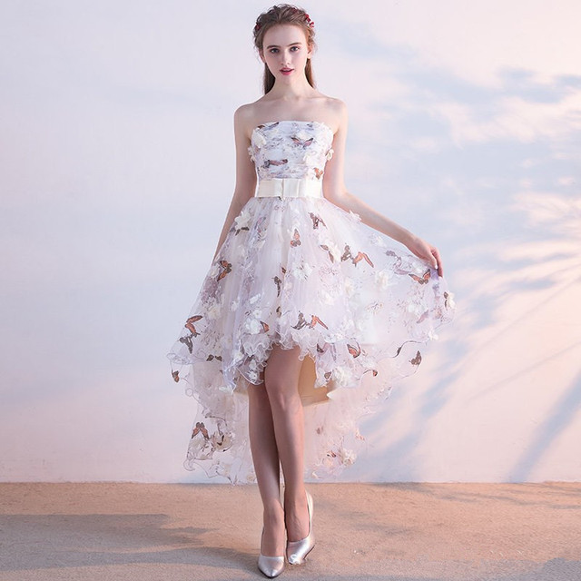 It's YiiYa Strapless Pleat Lace Up High-low Asymmetry Vintage Elegant Flowers Taffeta Prom Gown Dancing Party Prom Dresses LX018 3