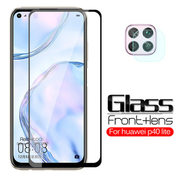 Перейти на Алиэкспресс и купить 2 в 1 закаленное стекло для huawei p40 lite Защитная пленка для экрана объектива камеры на hauwei p 40 lite E light p40lite Защитная стеклянная пленка