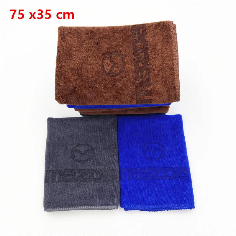 75x35 Microfiber Towel Car Cleaning Drying Cloth For Mazda Axela <font><b>2</b></font> <font><b>3</b></font> <font><b>5</b></font> <font><b>6</b></font> CX-<font><b>3</b></font> CX-<font><b>5</b></font> CX-7 CX-9 MX-<font><b>5</b></font> Car Wash image