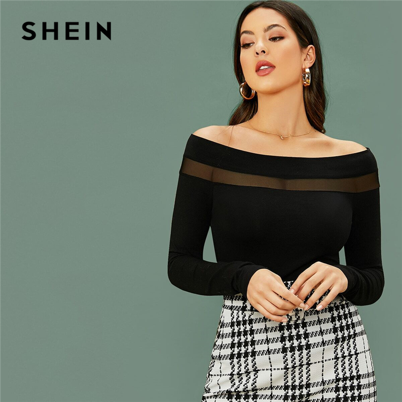 SHEIN Black Off Shoulder Mesh Insert Slim Tee Women Sexy Tshirt Spring Long Sleeve Glamorous Solid Skinny T-shirts 1