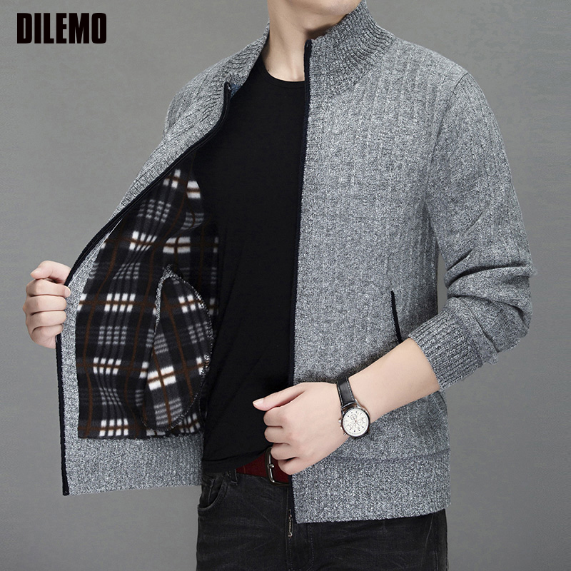 2019 New Thick Fashion Brand Sweater For Mens Cardigan Warm Slim Fit Jumpers Knitwear Autumn Korean Style Casual Mens Clothes