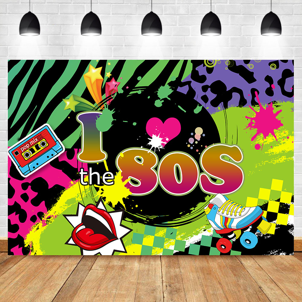 I Love 80s Backdrop Back to 80s Hip Pop Photography Background Radio Graffiti Music 80th Themed Banner Decoration Backdrops image