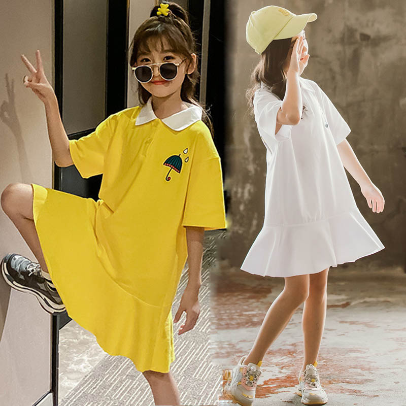 Teen <font><b>Girls</b></font> <font><b>Dresses</b></font> 2020 Summer <font><b>Girls</b></font> Clothes Casual Ruffle School Children <font><b>T</b></font> <font><b>shirt</b></font> <font><b>Dress</b></font> Kids <font><b>Dress</b></font> For <font><b>Girls</b></font> Outfits 12 14 Year image