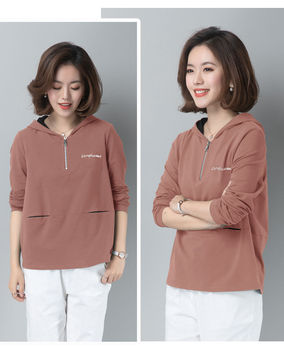 Spring and autumn new pure color women's Hoodie loose short women's top spring and autumn thin coat
