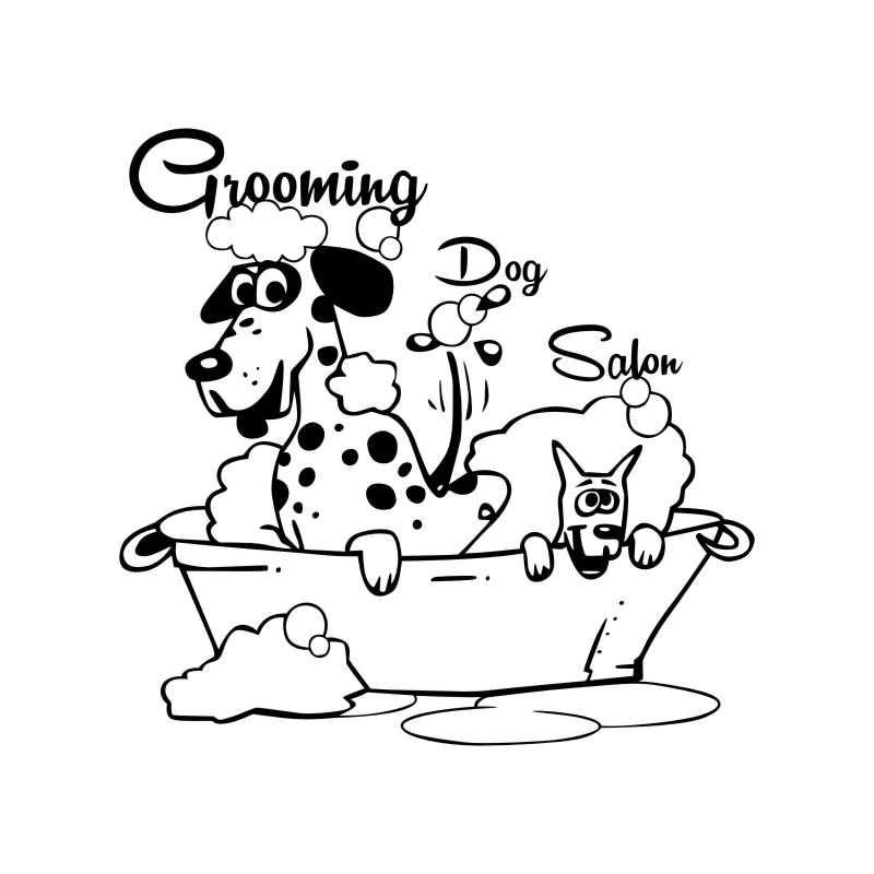 Dog Grooming Salon Pet Shop Sticker Decal Muurstickers Posters Vinyl Wall Art Decals Parede Decor Mural Pet Shop Sticker(China)