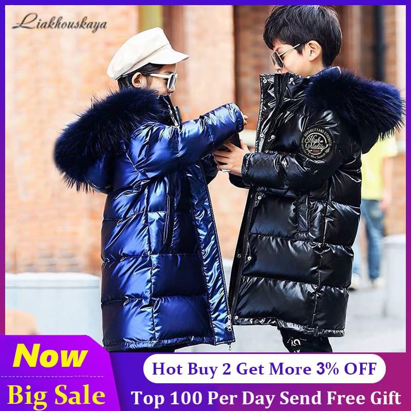 -30 русские зимние пальто 2020 Одежда для девочек зимняя куртка непромокаемое пальто с капюшоном Детская парка для мальчиков От 4 до 13 лет