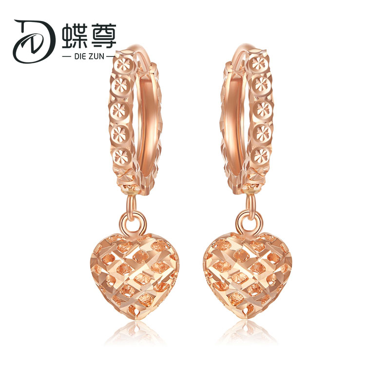 18K Gold Earrings Heart-shaped Earrings Rose Gold Plain Gold Earrings With Stars To Give Girlfriend Love Au750