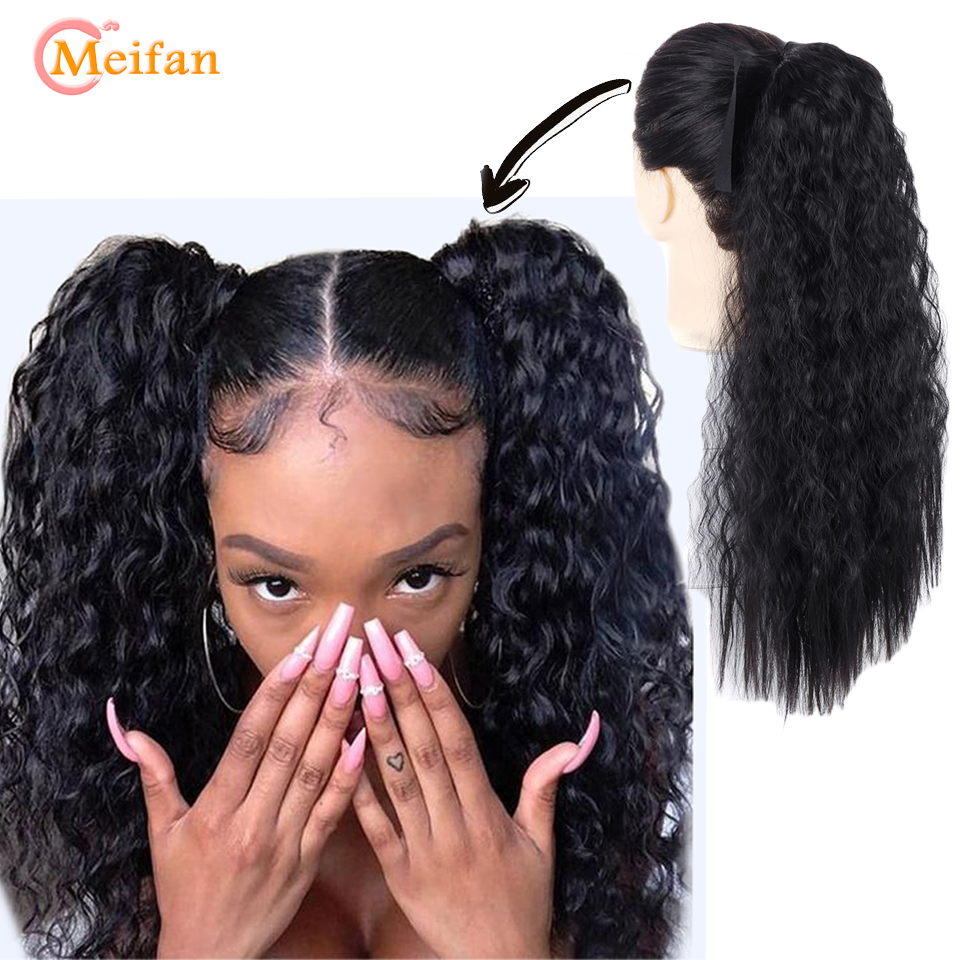 MEIFAN Long Curly Drawstring Ponytail Synthetic Hair Pieces Ribbon Wrap Around On Ponytail Hair Extensions Fake Hairpieces