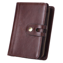 купить Western Genuine Leather More Card Holder Business Men Wallet Vintage Detachable Cow Leather Zipper Men Coin Purse дешево