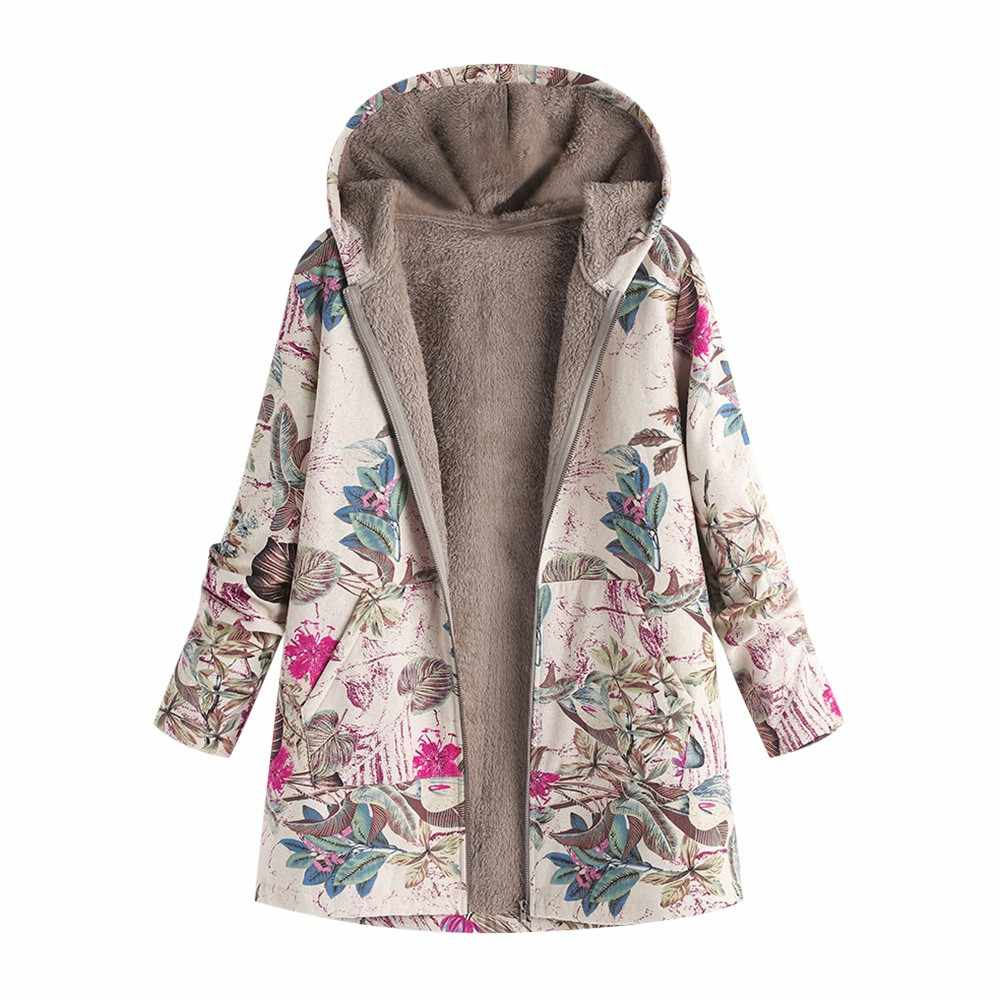 Wanita Musim Gugur Musim Dingin Mantel Kasual Hangat Lebih Tahan Dr Floral Cetak Berkerudung Kantong Vintage Kebesaran Mantel Ropa Mujer