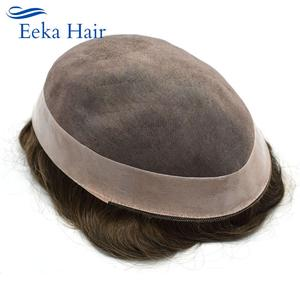 Mens Toupee Natural Medium Density Hair System Replacement Indian Hairs Double Knot More Colors Choose Durable Hairpiece Men Wig(China)