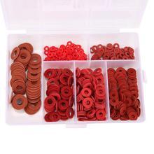 Rubber Washer 500Pcs/set Carbon Steel Plated White Zinc Red Insulation Flat Set M2 M2.5 M3  M5 M6