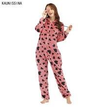 Женский теплый комбинезон фланелевая одежда для сна цельная