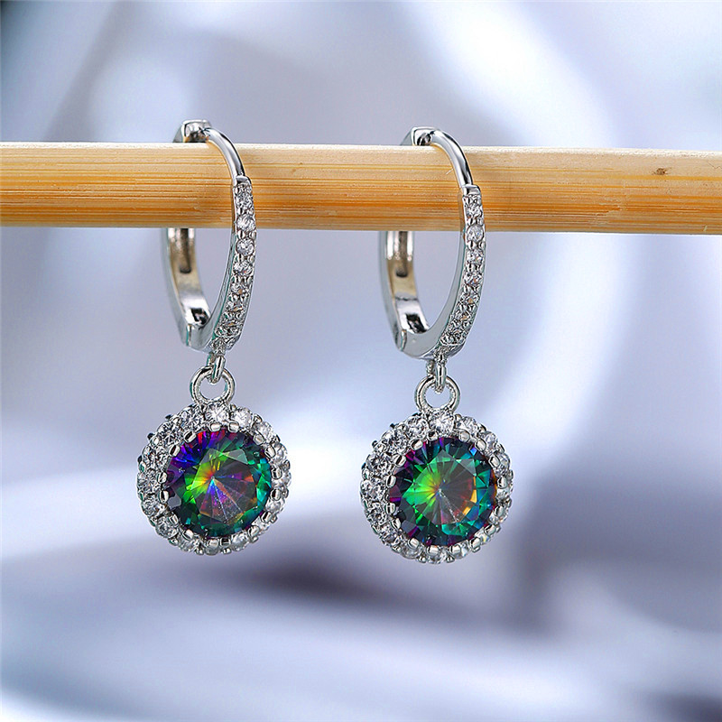 Vintage Female Rainbow Zircon Hoop Earrings Rose Gold Silver Color Wedding Earrings Cute Round Crystal Stone Earrings For Women
