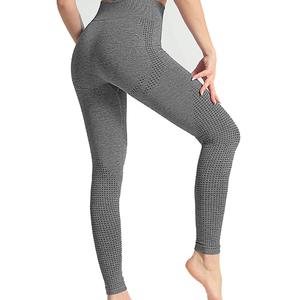 Image 3 - Fitness Seamless Leggings Women High Waist Tummy Control Pants Dot Pattern Workout Push Up Skinny Trousers Femme