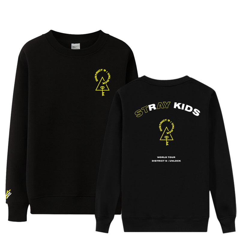New Arrival Kpop Stray Kids District 9 Unblock Same Printing O Neck Thin Sweatshirt Unisex Pullover Loose Sweatshirt
