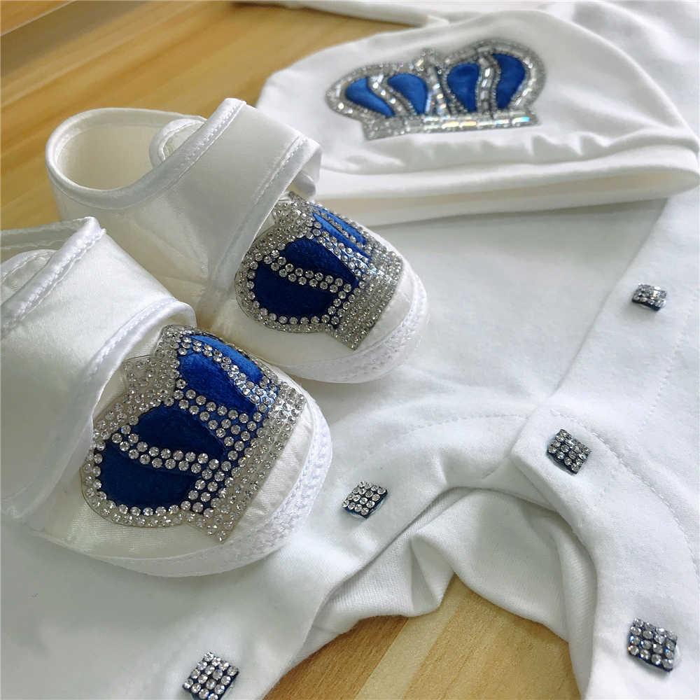 ベビーロンパース幼児綿の服 4 本セット帽子靴手袋歓迎新生児クラウンジュエリー天使の翼パジャマ衣装