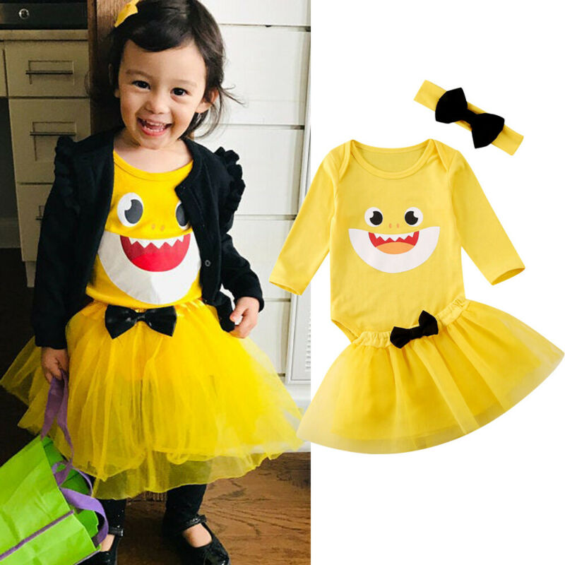 UK 3PCS Newborn Kids Girls Shark Clothes Romper Lace Tutu Dress Princess Outfits
