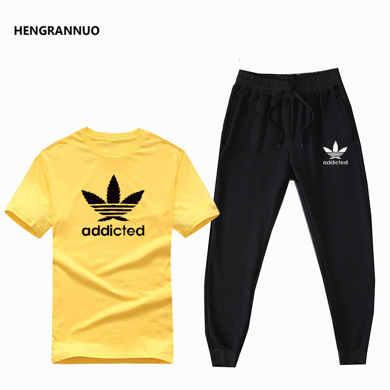New Short Sleeve Men Sets Cotton Clothing Summer 2 Piece Set Men Printed T Shirt + Pants Jogger Men T Shirt Set Sportswear Sets