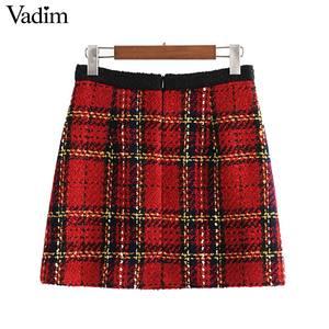 Image 2 - Vadim 女性エレガントなツイードパッチワークチェック柄ミニスカートバックジッパーポケット飾る事務服女性スタイリッシュなスカート BA860